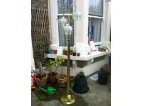 Tall standing Brass Lamp with pretty lampshades
