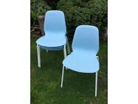 Used 4 retro style blue dining chairs, good condition