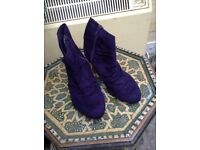 Purple ankle Marks and Spencer feaux suede boots size 4