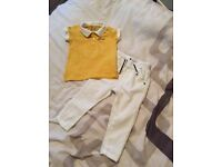Moschino baby boys yellow polo shirt and white cotton trousers age 9-12 months