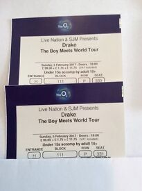2 Tickets Drake 02 London Feb 5th BLOCK 111 Excellent Seats