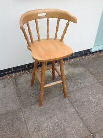 2 wooden kitchen stools.