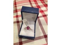 BRAND NEW LADIES SILVER AND PINK TOPAZ RING