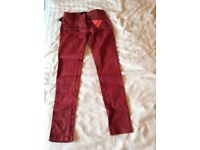 Red Leather Look Jeans size 10 never worn