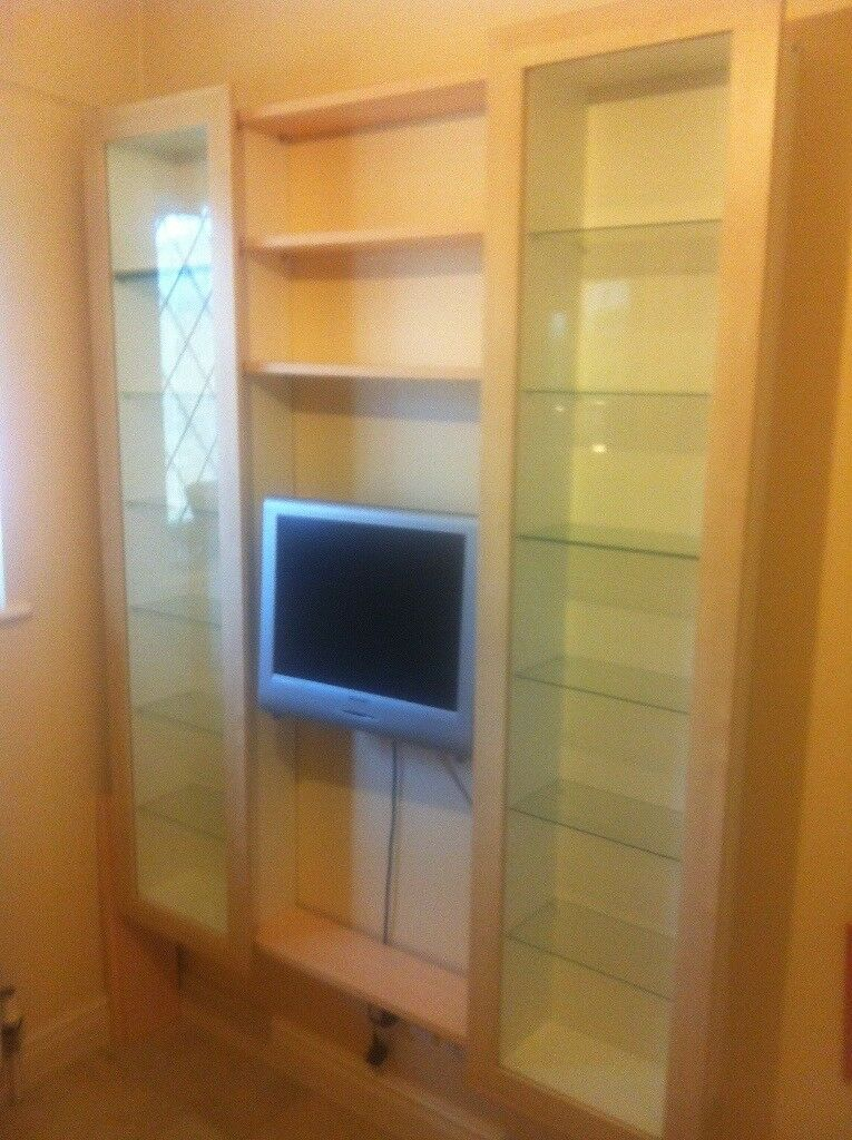 2 Glass Door Ikea Display Cabinets Can Be Used For Dvd Or Cd