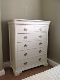 Beautiful white, wooden chest of drawers and matching bedside table - £200 for both items
