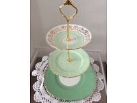 Green & Gold Mismatched Bone China 3 Tier Cake Stand.