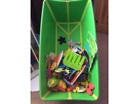 Collapsible Baby Bath and bunch of Bath toys