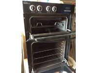 Double integrated black electric oven