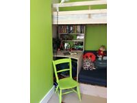 Kid's High sleeper bed with desk and futon