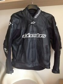 ALPINESTARS GP PLUS MENS BLACK LEATHER SPORTS MOTORCYCLE JACKET SIZE 50EU