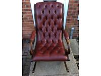 Chesterfield leather rocking chair