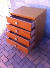Vintage solid wood teak veneer 4 drawer chest on legs