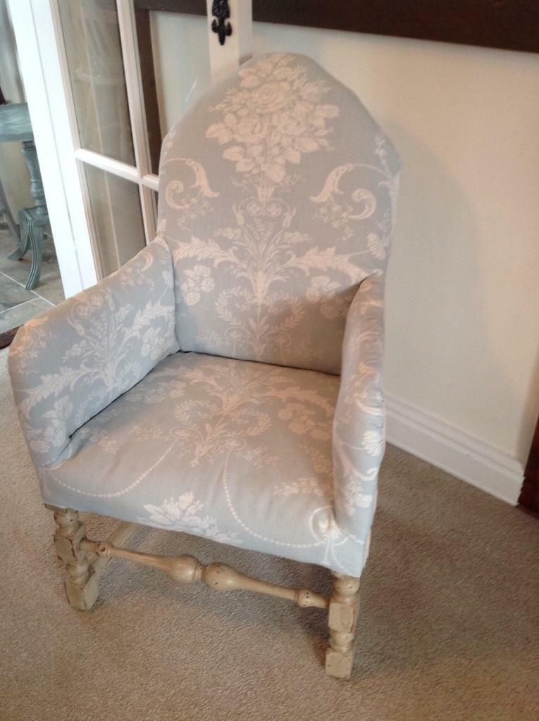 Soft Arm Chair Solid Wood Frame Upholstered Pale Blue