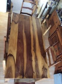 Stunning natural hardwood dining table and chairs
