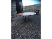 Extra large round table seats 8 lovely wrought iron base
