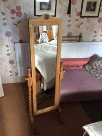 Pine Floor Standing Swival Mirror