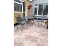GARDEN DINING TABLE AND 4 CHAIRS.