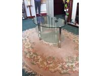 Oval glass coffee table £20 collection only tel 07711824395