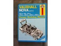 Haynes Workshop Manual For Vauxhall Nova 83-93