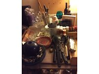 Kitchen utensils and plates