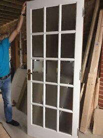 Two x Hardwood 15 Panel Interior Frosted Glazed Doors