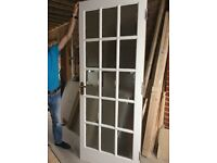 Two x Hardwood 15 Panel Interior Frosted Glazed Doors
