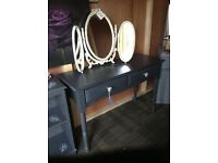 Shabby chic triple mirror in cream and gold lovely condition