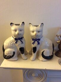 Pair of vintage black and white cats