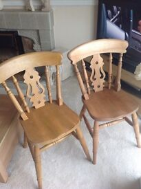 4 strong solid wood farmhouse chairs