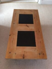 Pine Coffee Table with black tile inlays