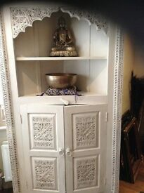 hand carved marroccan style corner unit very large and roomy white and waxed