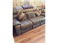 3 piece grey leather recliner suite