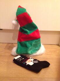 Christmas socks and hat