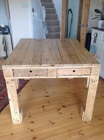 Rustic Dining Table, Pallet, Industrial, Farmhouse, Upcycled, Drawers, Reclaimed
