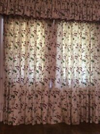 Maroon, pink, green, cream & yellow curtains with matching valence & tie backs