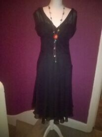 Ted Baker silk black dress size 10 to 12