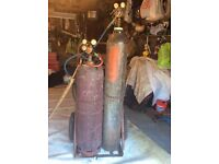 Gas acetylene and oxygen with cradle