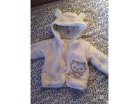 WARM HOODED BABY JACKET WITH OWL 1-3 MONTHS