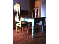 Table and Pair of Decorative Cathedral Chairs / Can Deliver