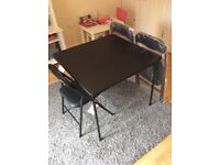 Argos HOME Quin Black Folding Table & 4 Folding Chairs Dining Set Used Once RRP £100 Space Saver
