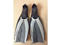 Bodyglove Snap Pool Fins - Size 8/9 - Grey/Black - Hardly Used Excellent Condition