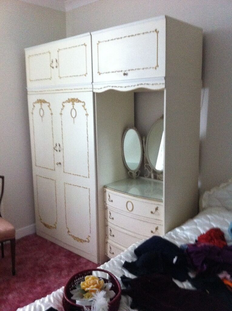 Two double wardrobes with dressing table and lighting