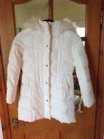 M&S girls white padded coat age 9-10