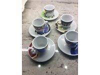 Set of 5 espresso cups and saucers