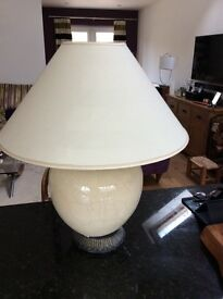 Two large cream table lamps with lampshades