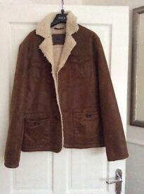 Male fake suede jacket fur inside