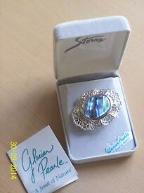 "New ~ Vintage Style Abalone Brooch ""Glacier Pearl"" From Canada (new & boxed)"