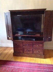 TV & Video Cabinet Solid Birch Wood