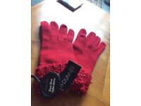 Brand New DUNNES Bright Red Stud Gloves, One Size